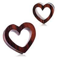 Pair Of Organic Sono Wood Heart Tunnel Plugs