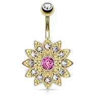 Paved Gems Flower with Center CZ Gold Toned Navel Ring