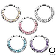 Round Paved Gems Surgical Steel Septum Clicker