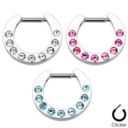Multi Gem Paved Surgical Steel Septum Clicker
