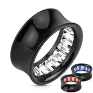 Pair Of Princess Cut Gem Pattern Inlayed Black Acrylic Saddle Fit Tunnels