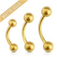 Matte Gold Over Surgical Steel Eyebrow Curve Barbell