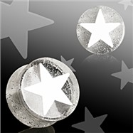 Pair Of White UV Acrylic 3D Star Double Flare Glitter Plugs