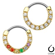 Ten Paved Gem Single Line Gold Tone Surgical Steel Septum Clicker