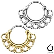 Tribal Fan Surgical Steel Septum Clicker - IP Gold