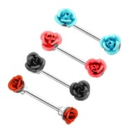 Pair Of Metal Rose Nipple Bars