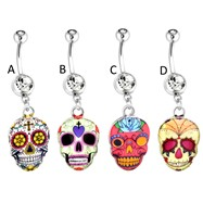 Sugar Skull Surgical Steel Dangle Navel Ring