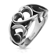 Three Hollow Hearts Stainless Steel Cast Ring