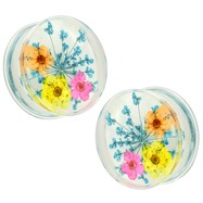 Pair Of Blue  Dried Flower Clear Acrylic Saddle Fit Plugs