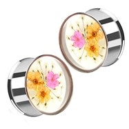 Pair Of Pink & Orange Dried Flower Clear Acrylic Double Flared Stainless Steel Plugs