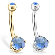 14K Gold Checkered Sapphire Gem Navel Ring, 14 Ga