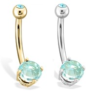 14K Gold Checkered Aquamarine  Gem Navel Ring, 14 Ga