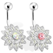 Paved Gems Flower with Center CZ Surgical Steel Navel Ring