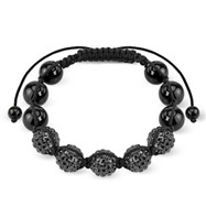 Black Crystal Clustered Bead Bracelet with Black CZ