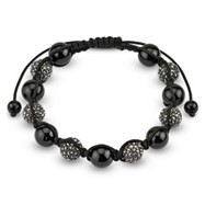 Alternating Black Crystal Clustered Bead Bracelet with Black CZ
