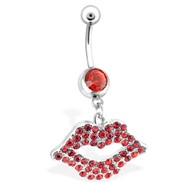 Luscious Lips Belly Ring, Red, 14 Ga