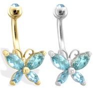 14K Gold Butterfly Belly Ring, Aquamarine