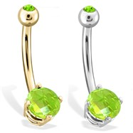 14K Gold Checkered Peridot Gem Navel Ring, 14 Ga