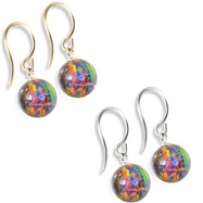 14K (Nickle Free) Gold Opal Earrings, Rainbow