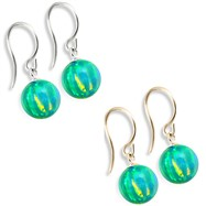 14K (Nickle Free) Gold Opal Earrings, Green