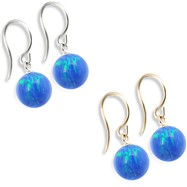 14K (Nickle Free) Gold Opal Earrings, Blue