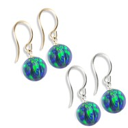 14K (Nickle Free) Gold Opal Earrings, Blue Green