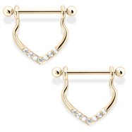 Chic 14K Gold Dangling Nipple Ring with Clear Gems, 14 Ga