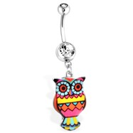 Yellow Owl Navel Ring With Rainbow Pattern, 14Ga