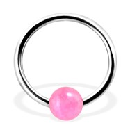 Captive Bead Ring with Rose Quartz Ball, 16Ga