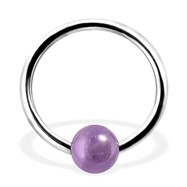 Captive Bead Ring with Amethyst Ball, 16Ga