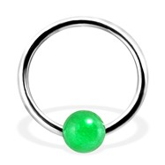 Captive Bead Ring with Jade Aventurine Ball, 16Ga