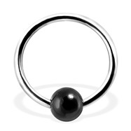 Captive Bead Ring with Black Onyx Ball, 16Ga