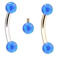 Internally Threaded Curved Barbells With Blue Opals