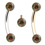 Internally Threaded Curved Barbells With Rainbow Opals