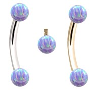 Internally Threaded Curved Barbells With Lavender Opals