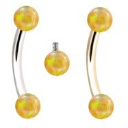 Internally Threaded Curved Barbells With Yellow Opals