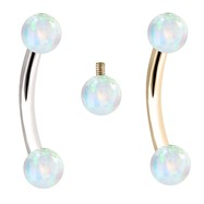 Internally Threaded Curved Barbells With White Opals