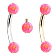 Internally Threaded Curved Barbells With Pink Opals