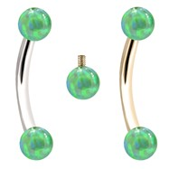 Internally Threaded Curved Barbells With Green Opals