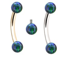 Internally Threaded Curved Barbell With Blue-Green Opals