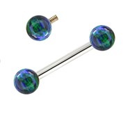 14K White Gold Internally Threaded Straight Barbell With Bluegreen Opals