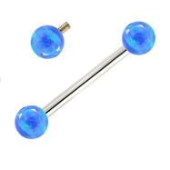 14K White Gold Internally Threaded Straight Barbell With Blue Opals