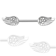 Straight Barbell With Angel Wings, PAIR
