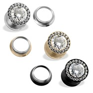 Large CZ Centered Screw Fit Tunnels