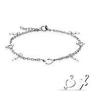 Heart And Cross Dangling Charms Chain Anklet/Bracelet
