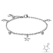 Star, Ball, And Heart Dangling Charm Chain 316L Stainless Steel Anklet/Bracelet