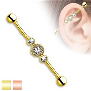 Gold Tone Industrial Barbell, 14 Gauge