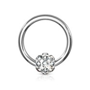 Crystal Paved Ferido Ball Captive Bead Ring