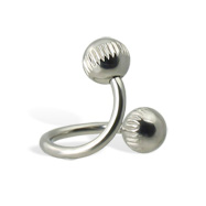 Notched ball spiral barbell, 14 ga