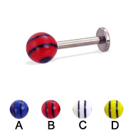 Titanium labret with double striped ball, 14 ga